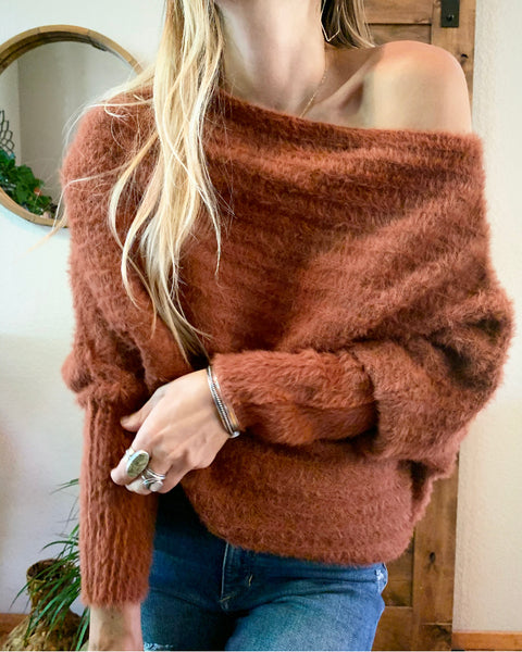 Rayne Slouchy Boatneck Sweater - Burnt Orange