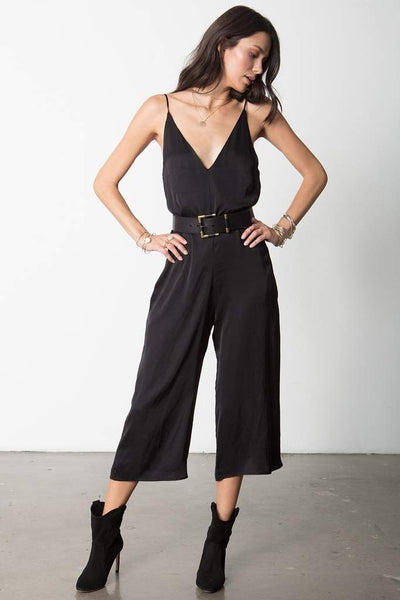 The V-Neck Jumpsuit Black