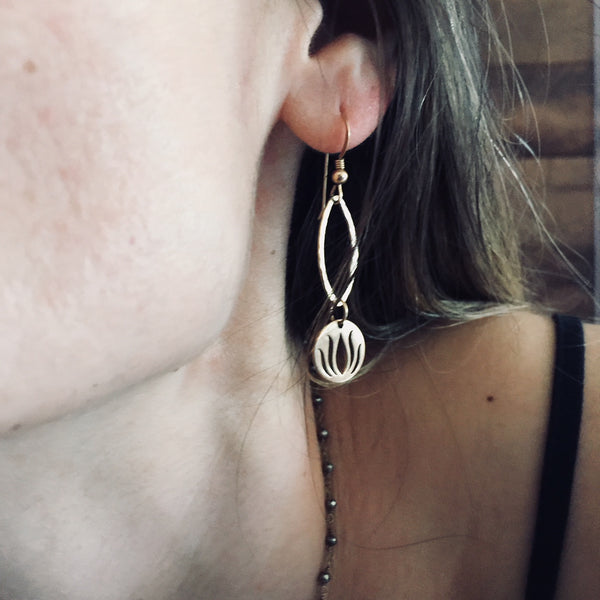 Hammered Lotus Earrings