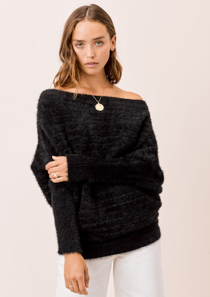 Rayne Slouchy Boatneck Sweater - Black