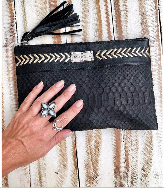 Cabo Leather Snakeskin Clutch
