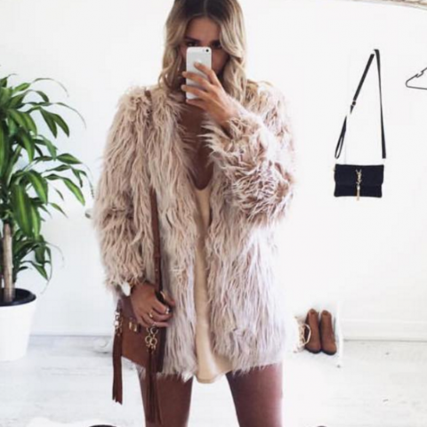 Faux Fur Portofino Jacket in Blush