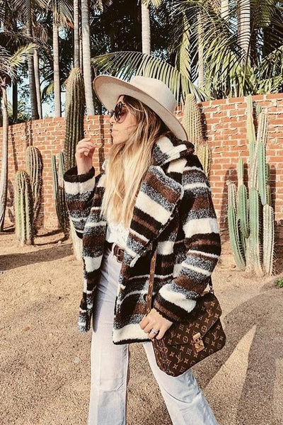 Rae Multi Stripe Faux Fur Coat