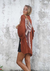 Everyday Short Kimono in Aubergine - One Size