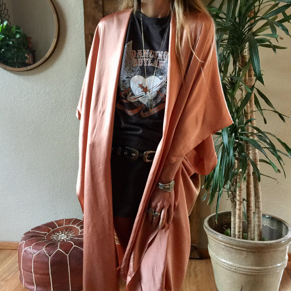 Luxe Silk Long Kimono in Desert Orange - One Size