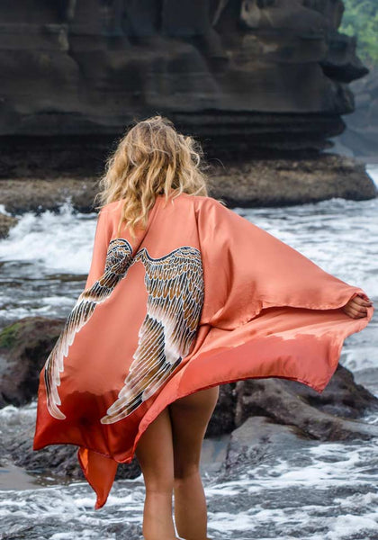 Luxe Silk Short Kimono in Desert Orange - One Size