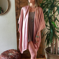 Luxe Silk Short Kimono in Musk - One Size