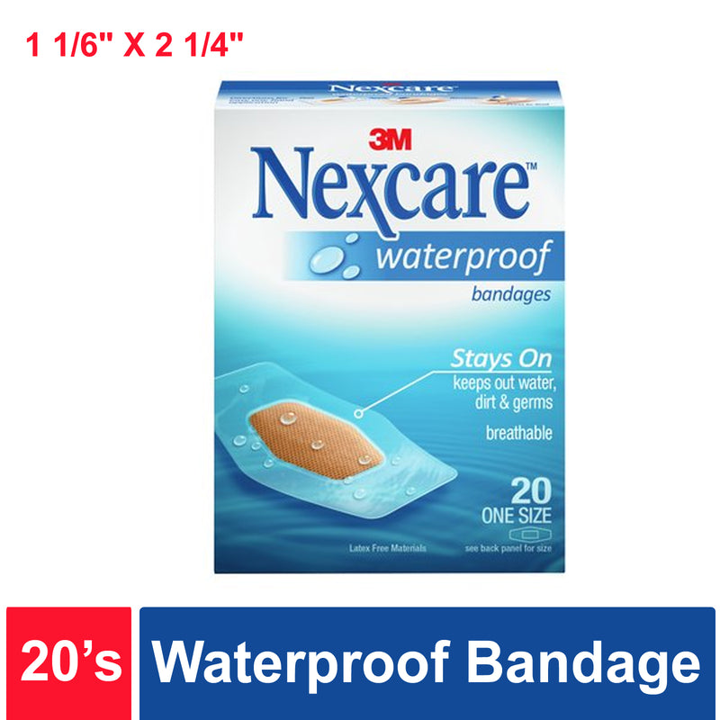 Nexcare™ Waterproof Bandage, 1-1/6 in X 2-1/4in- Box of 20's
