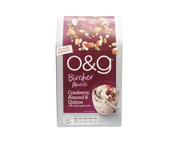 O&G Muesli Bircher Cranberry Almond Quinoa - Uncle Tobys 425g - LimSiangHuat