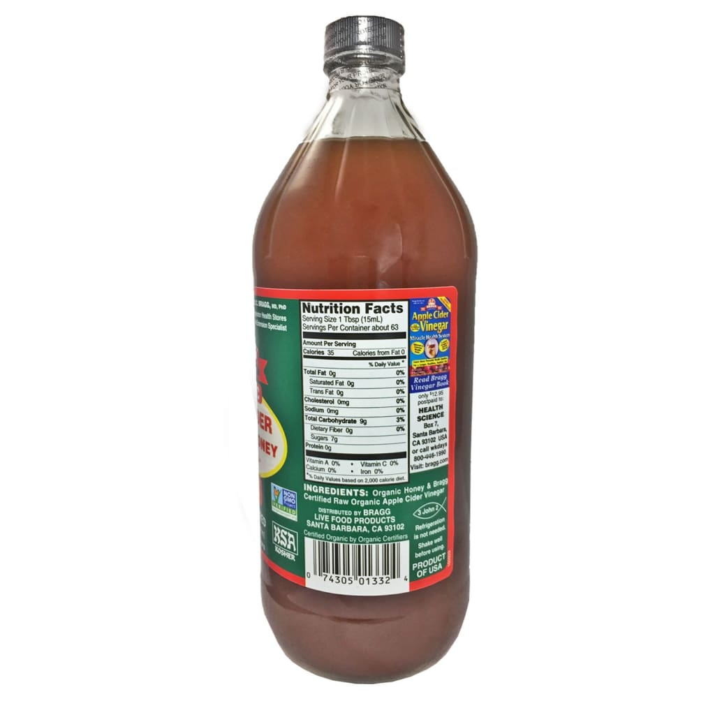 Apple Cider Vinegar Honey Blend with The Mother Braggs 946ml - LimSiangHuat