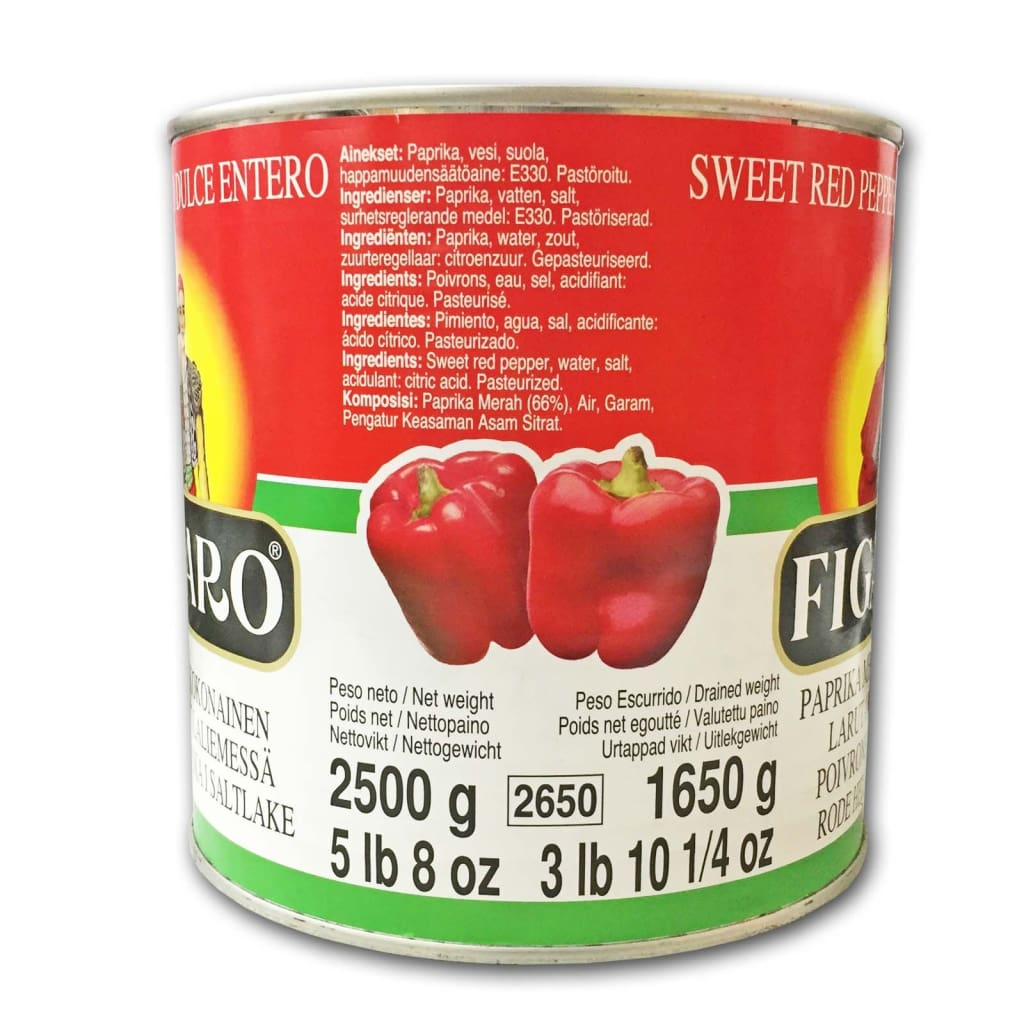 Red Pimientos (Whole) -Figaro 3X2.5Kg Canned Vegetable