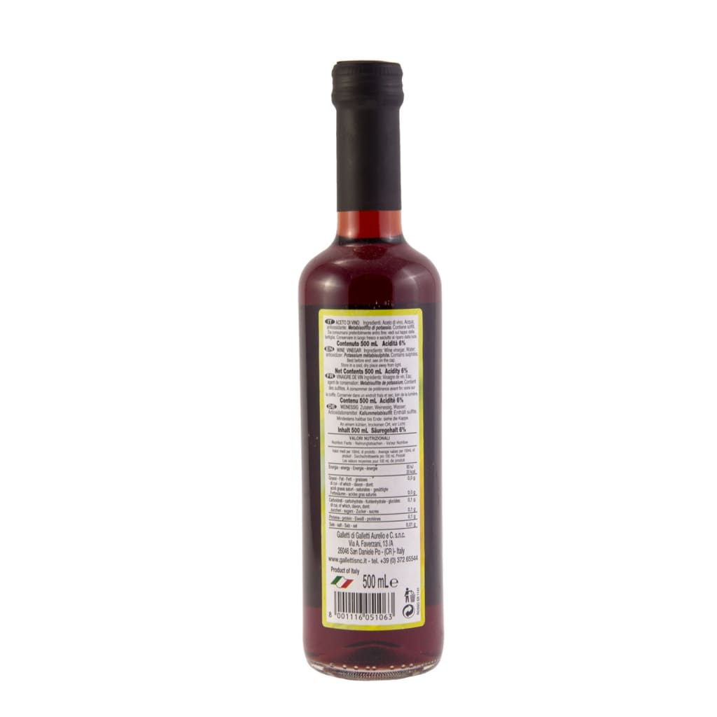 Red Wine Vinegar -Galletti 12x500ml - LimSiangHuat
