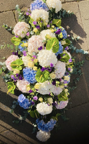 Elegant Hydrangea Double Ended Coffin Spray