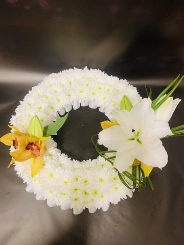 Orchid and Lilly Wreath