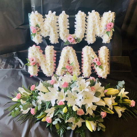 MUM, NAN and Double Ended Coffin Spray in Pale Pink