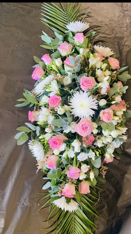 Pink, White and Cream Double Ended Coffin Spray