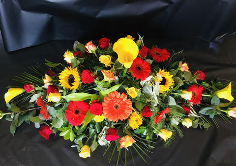 Red, Yellow and Orange Double Ended Coffin Spray