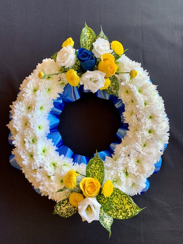 Blue and Yellow Wreath