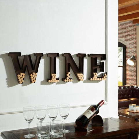 Metal Wall Mount 'Wine' Letters Cork Holder  FREE SHIPPING - 247onlinemall