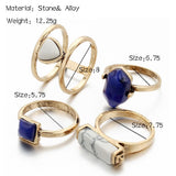 4 PCS Color Stone  Rings Set