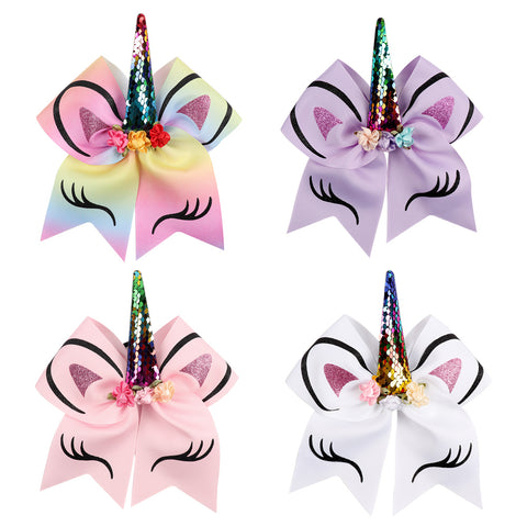 Unicorn Cheer Bows Girls Hair  With Elastic Band  Pack of 4