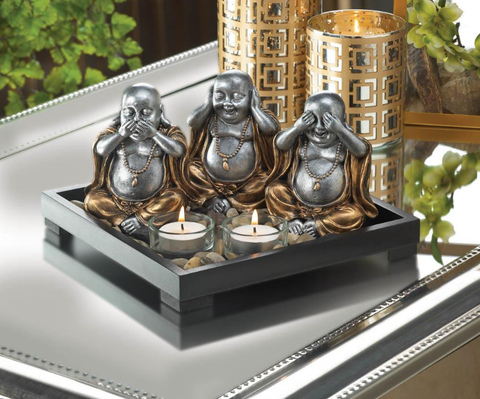 Happy See Hear Speak No Evil Buddha Statue Figurine Candleholder Set - 247onlinemall