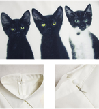 Women's Loose Chiffon Three Cats Tops Long Sleeve Casual Blouse. - 247onlinemall - 3