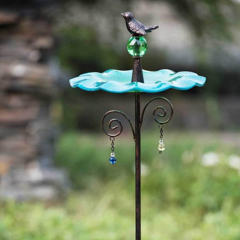 Glass Blue Bird Feeder Garden Stake   FREE SHIPPING - 247onlinemall