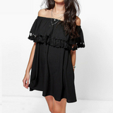 Sexy Neck Off Shoulder Ruffles Tassels Beach Short Dress