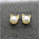 Gold & Pearl Stud Cat Earrings  FREE SHIPPING - 247onlinemall