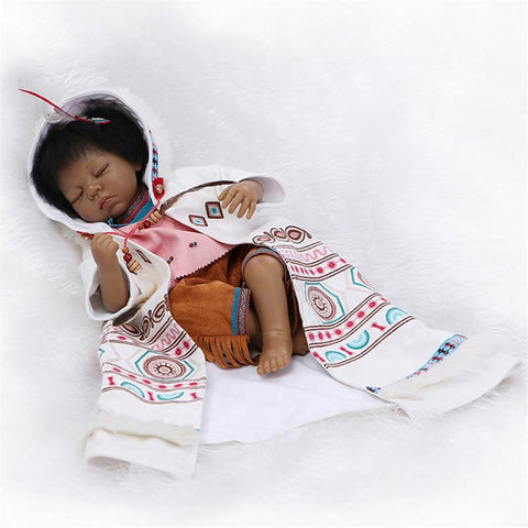Native American Indian Reborn Baby Doll Cute Close Eyes - 247onlinemall - 2