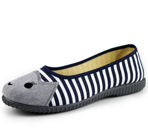 Striped Canvas Flat cat Shoes - 247onlinemall - 6