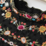 ~ Vintage ZA Colorful Floral Print Embroidery Back Button Chiffon T-Shirt Street Women Stand Collar Pullover Long Sleeve Top Femme - 247onlinemall - 2