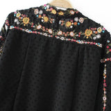 ~ Vintage ZA Colorful Floral Print Embroidery Back Button Chiffon T-Shirt Street Women Stand Collar Pullover Long Sleeve Top Femme - 247onlinemall - 6