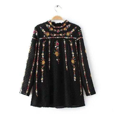 ~ Vintage ZA Colorful Floral Print Embroidery Back Button Chiffon T-Shirt Street Women Stand Collar Pullover Long Sleeve Top Femme - 247onlinemall - 5