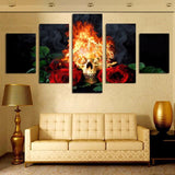 Fire skull & red rose Home Decor Wall Painting Canvas - 247onlinemall - 2