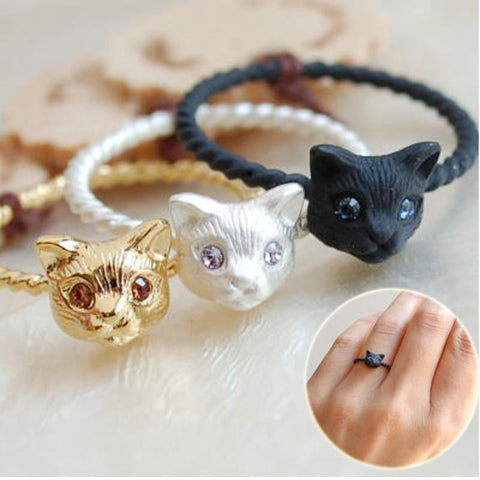 Gold Plated Cut Cat Head Rings - 247onlinemall