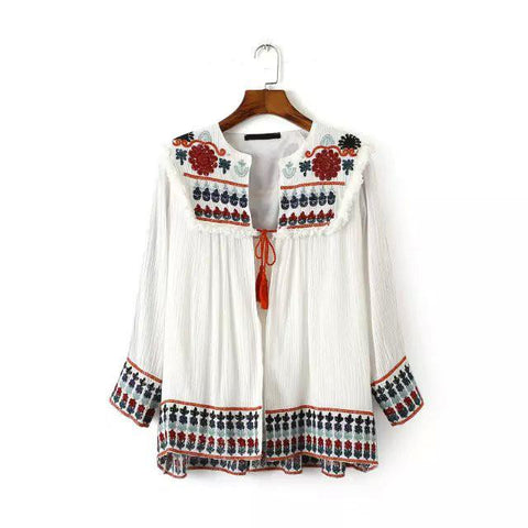 5 Ethnic Embroidered Ethnic Colorful Flower Print Fashion Trendy Vintage Retro Women Loose Casual Linen Cardigan Jacket Sunscreen - 247onlinemall - 3