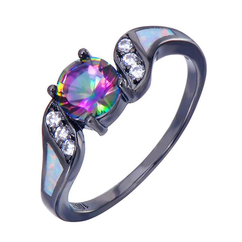 Elegant Colorful Zircon Ring White Opal - 247onlinemall - 1