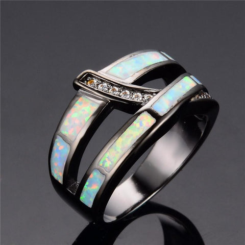 Fashion Cross White Fire Opal Ring - 247onlinemall - 3