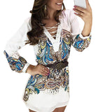 V neck Short Dress L Long Sleeve Casual - 247onlinemall - 1
