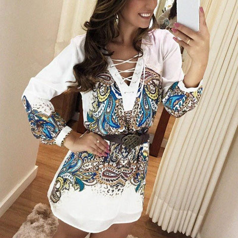 V neck Short Dress L Long Sleeve Casual
