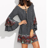 Women Vintage Lace Up V Neck Flounce Long Sleeve Casual Dresses - 247onlinemall - 2