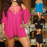 Sleepshirts Female Lace Patchwork O Neck Off Shoulder