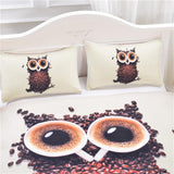 3D Cute Owl Bedding Set Cafe Coffee Beans Printed Duvet Cover