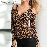 Sexy Leopard Blouse Off Shoulder