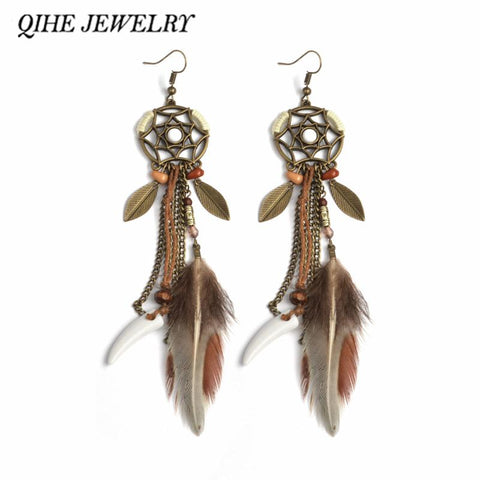 Long Feather Dreamcatcher Earring