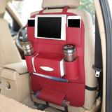 Leather Car Seat Back Folding Portable Storage Bag Multi-Use