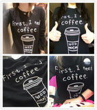 Coffee Print Long Loose T-Shirt