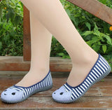 Striped Canvas Flat cat Shoes - 247onlinemall - 2